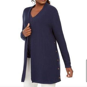 JM Collection blue open faced cardigan NWT